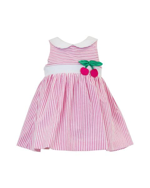 Pink Seersucker Romper with Cherries