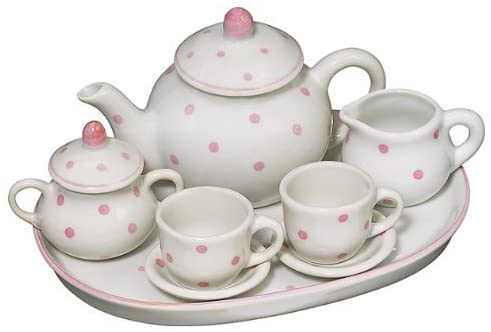 "10 Pc 7"" Polka Dot Tea Set"