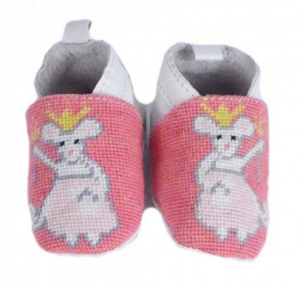 Princess Mouse Needlepoint Baby Bootie