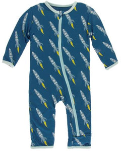 Rockets Print Coverall with Zipper