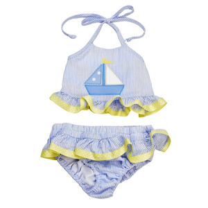 2 Piece Swimsuit with Sailboat