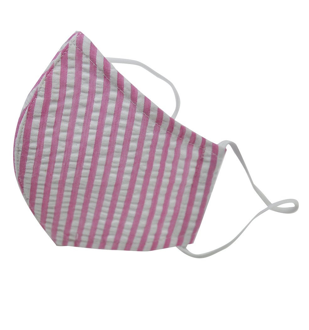 Pink Seersucker Stripe Face Mask