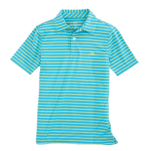 Shoreline Blue Stripe Driver Performance Polo