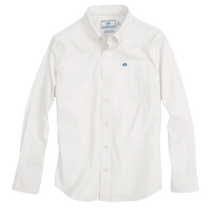 White Long Sleeve Intercoastal Performance Button Down
