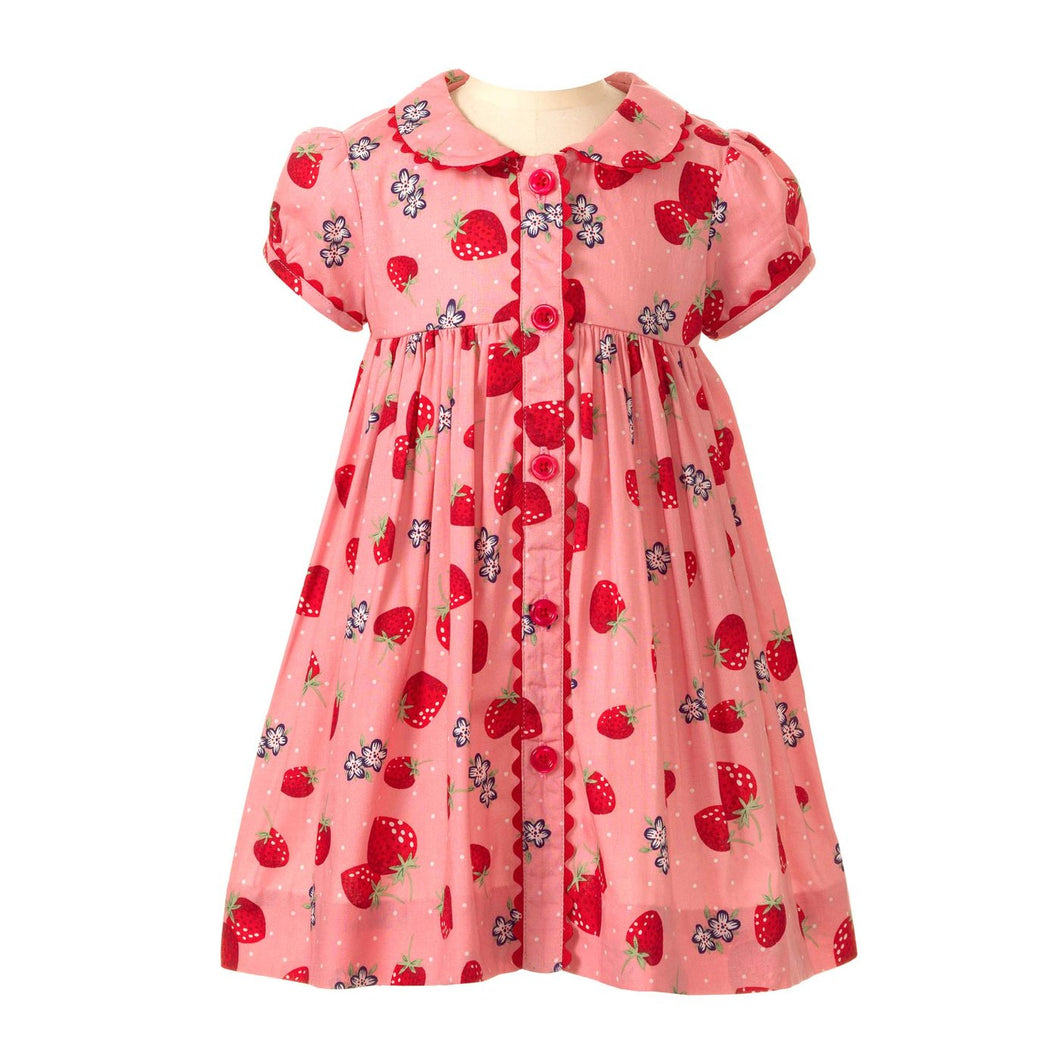 Strawberry Button Front Dress With Bloomer