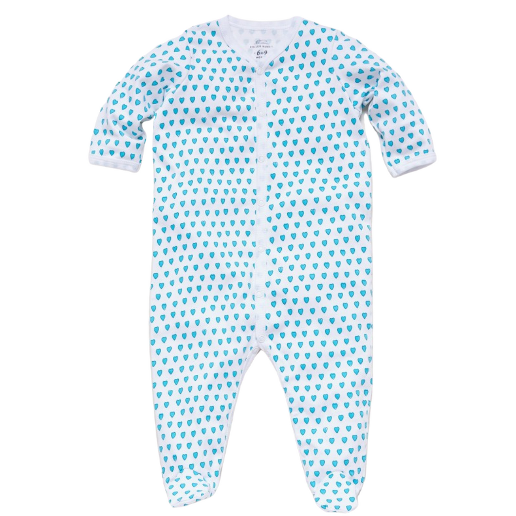 Teal Hearts Footie Pajamas