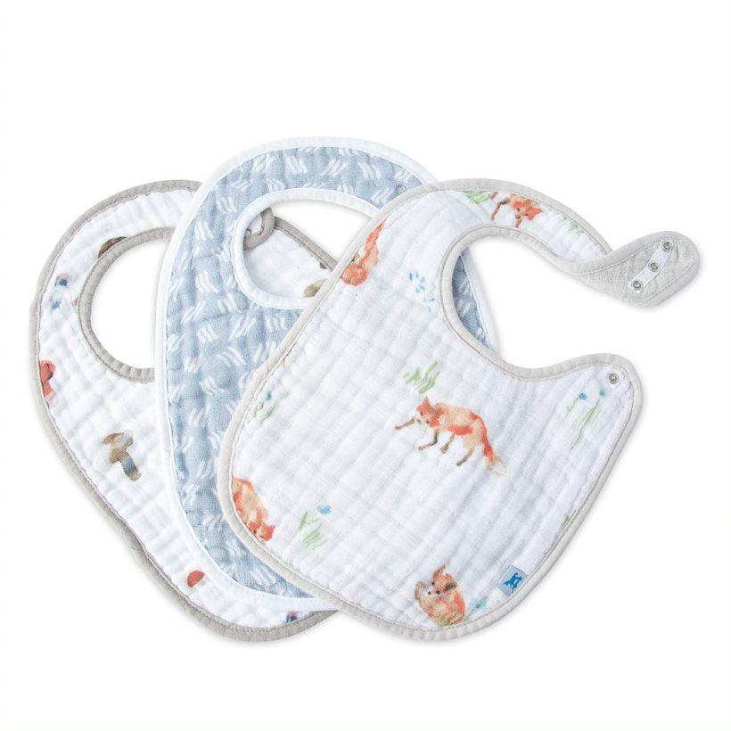 Cotton Muslin Classic Bib 3 Pack - Fox