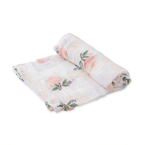 Organic Cotton Muslin Swaddle - Watercolor Rose
