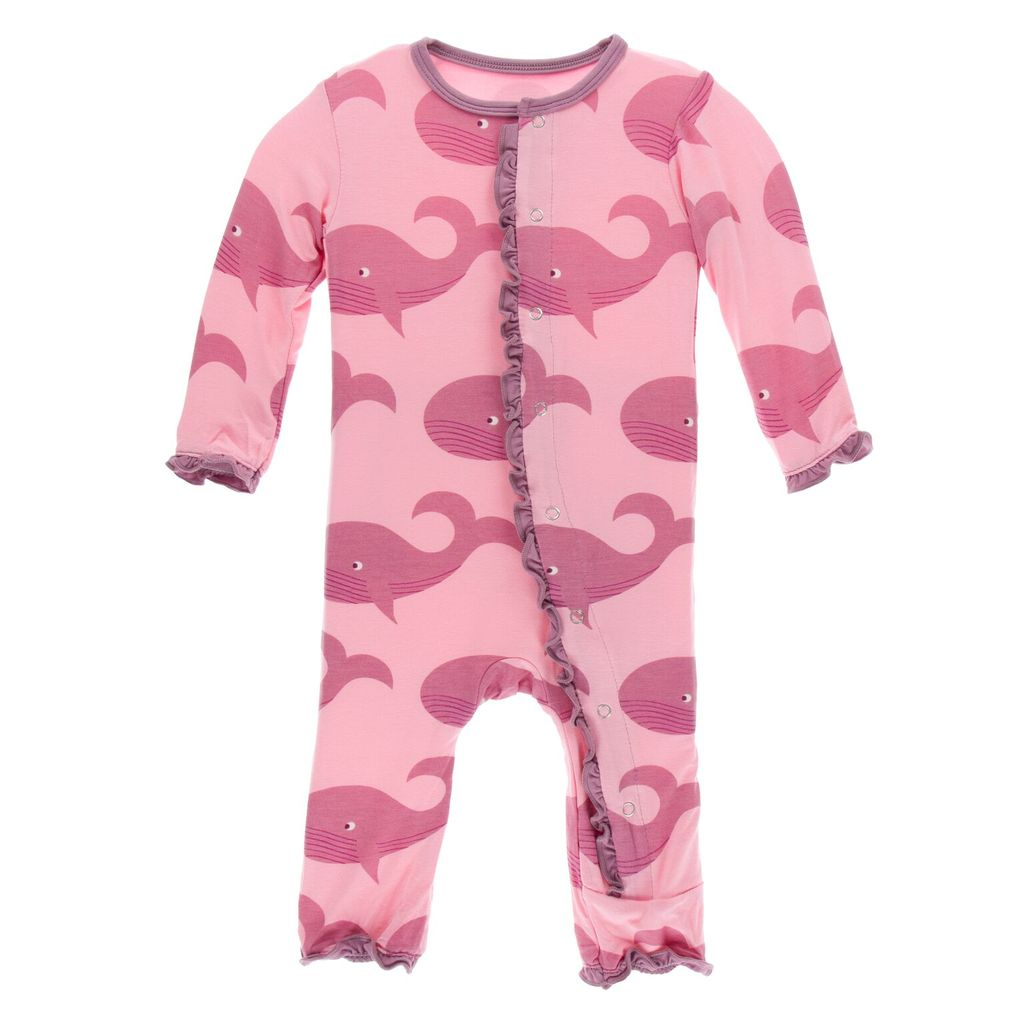 Whales Ruffle Coverall with Zipper