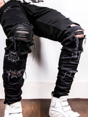 Black Distressed Denim Jeans Destroyed Cotton Stretch Rips