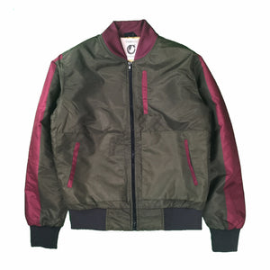 Bordeaux Palette Bomber Gold Olive Burgundy Jacket