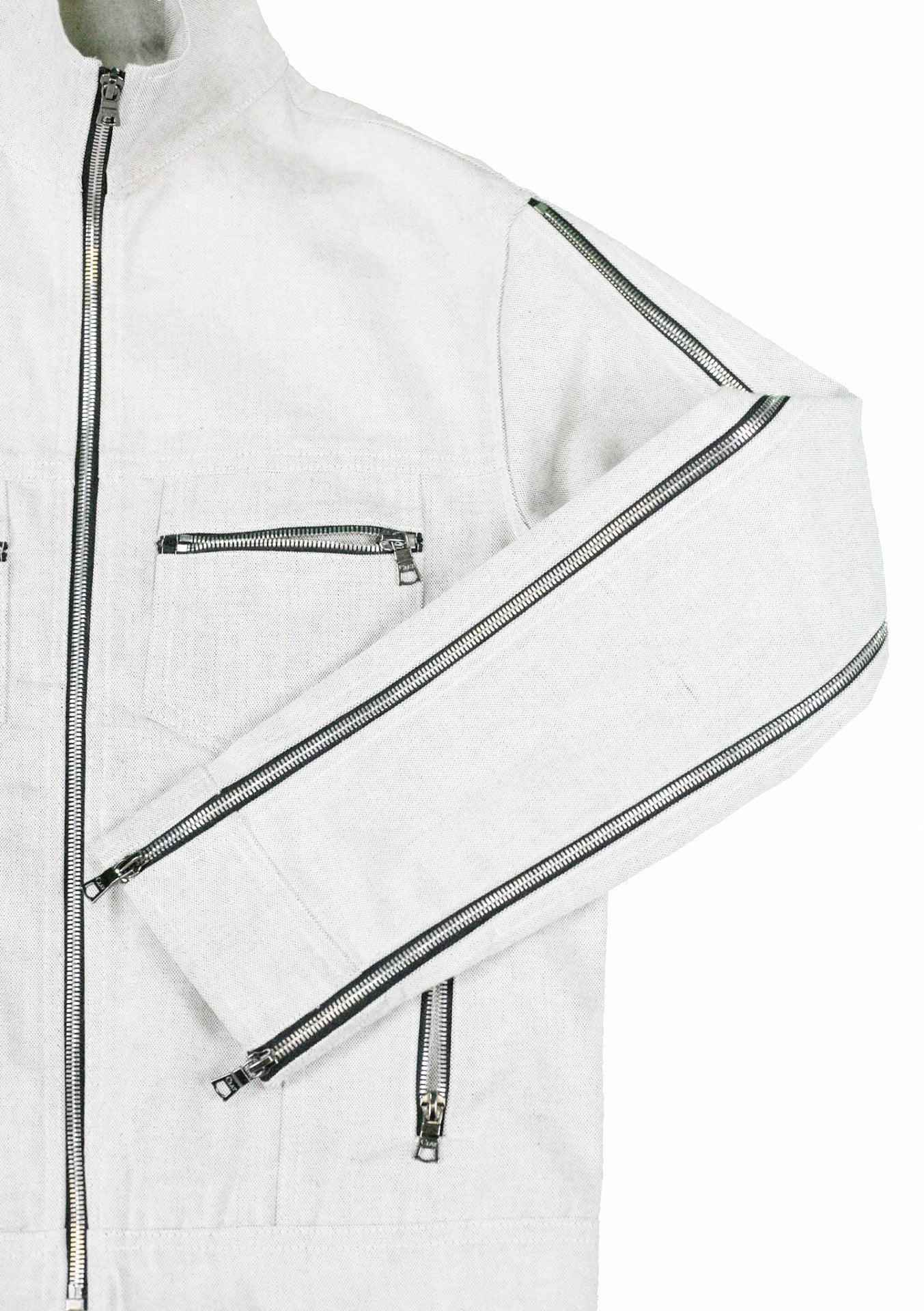 Holographic Canvas Jacket Paneling Salt and Pepper Full Zip Collar