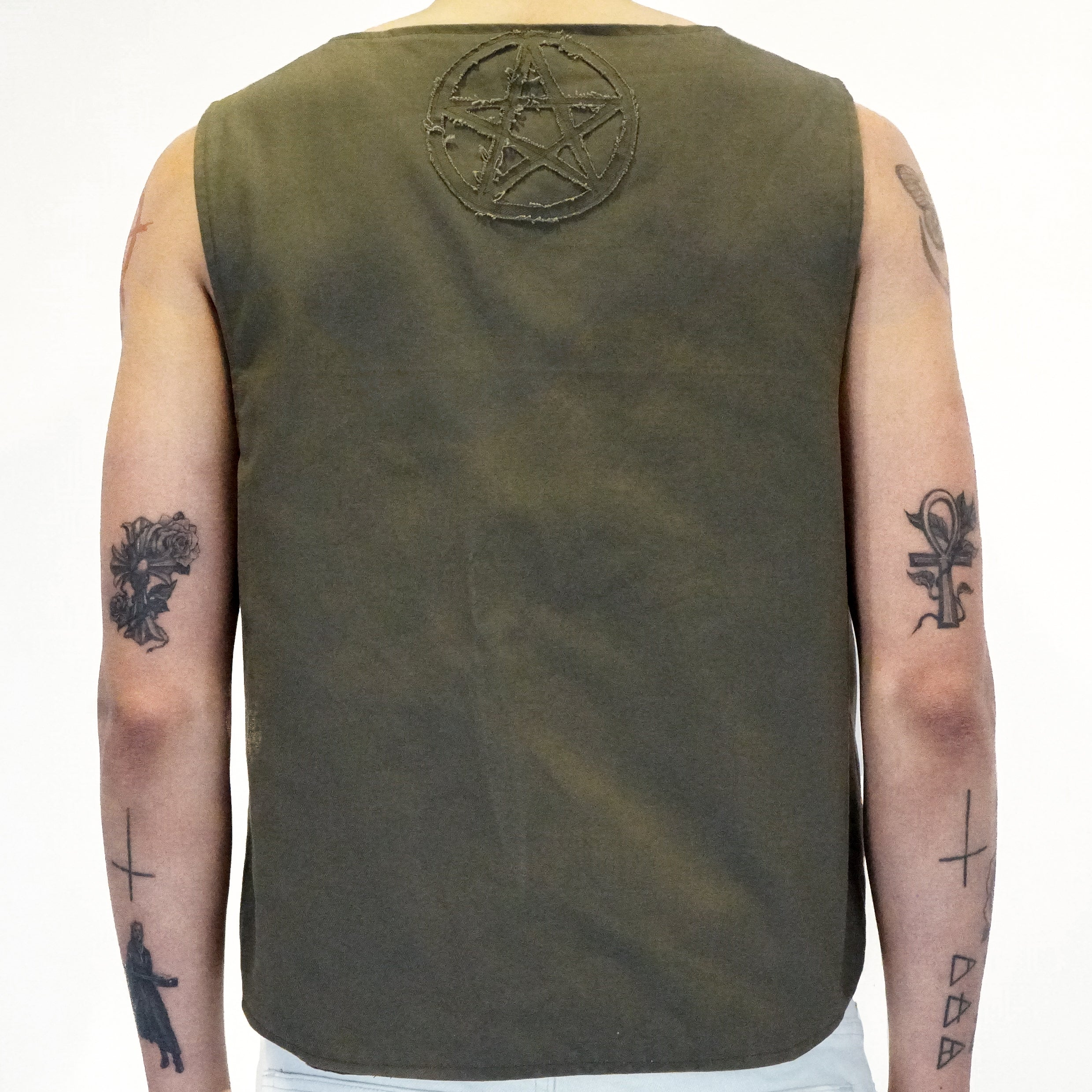 Reversible Pentacle Vest in Brown/Olive