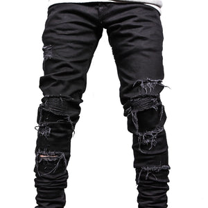 Black Distressed Denim Jeans Destroyed Cotton Stretch