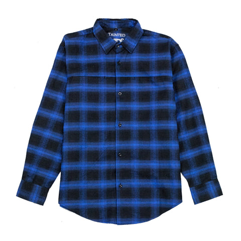 Blue Black Checked Flannel Shirt Plaid