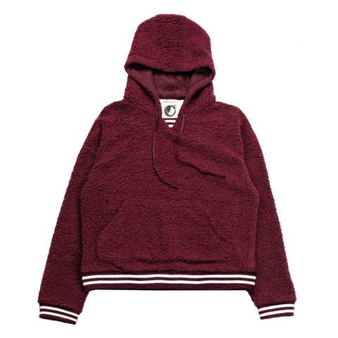 Sherpa Fleece Hoodie Blood Red Striped Cozy Warm