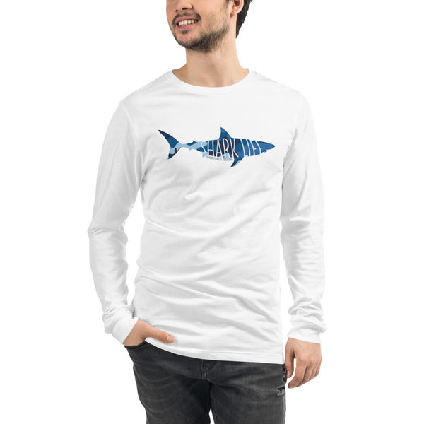 Shark Life Unisex Long Sleeve Tee - White and Gray