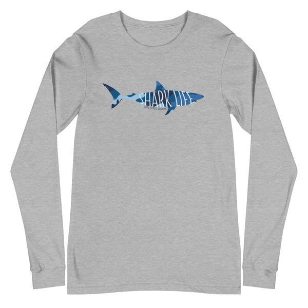 Shark Life - Unisex Long Sleeve Tee (White and Gray)