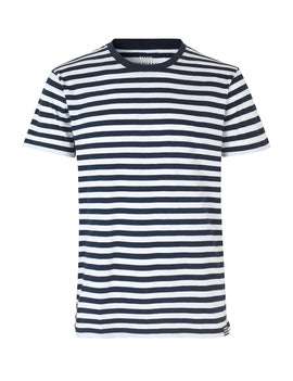 MADS NOORGARD MEN FAVORITE  MIDI THOR SHIRT - navy white