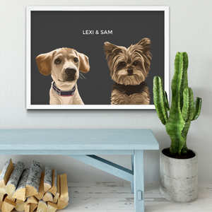 Custom Two Pet Portrait (Framed)