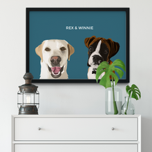 Load image into Gallery viewer, Custom Two Pet Portrait (Framed)