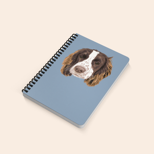 custom pet notebook with spaniel on the front