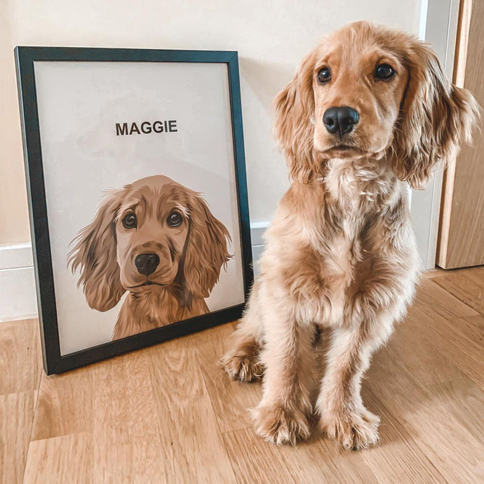 dog portrait next to dog
