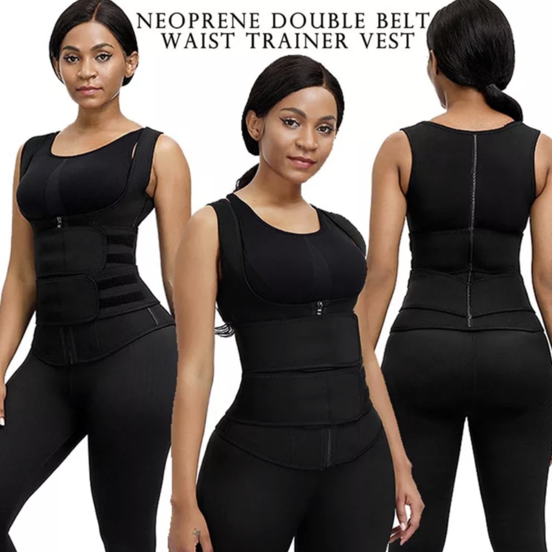 waist trainer double compression vest slimming black snatched