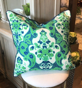 Pillow Green, Navy and Ivory Print 22""