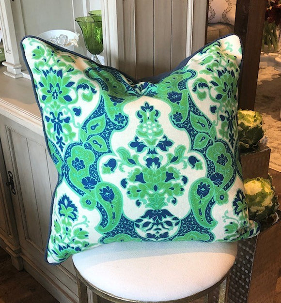 Pillow Green, Navy and Ivory Print 22
