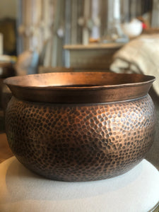 "17.75"" Hammered Antique Copper Pot"