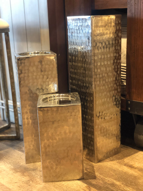 Set of 3 Tin Square Pillar