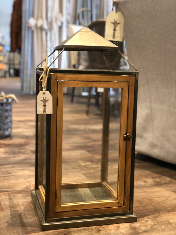Wood Square Lantern with Metal Top