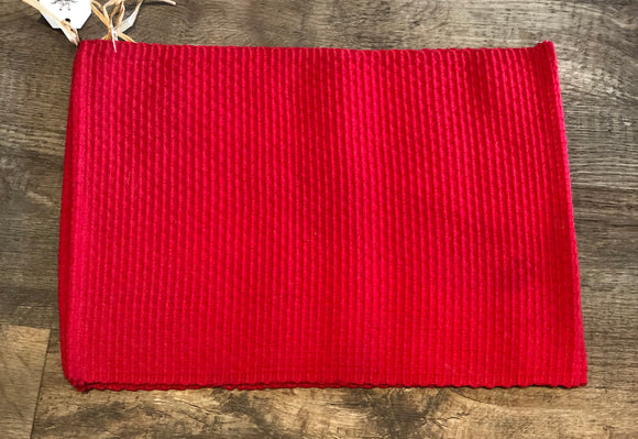 Chunky Woven Placemat Set of 2 Red