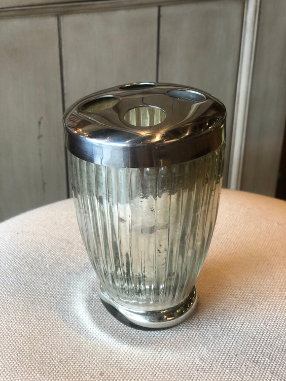 Silver toothbrush holder