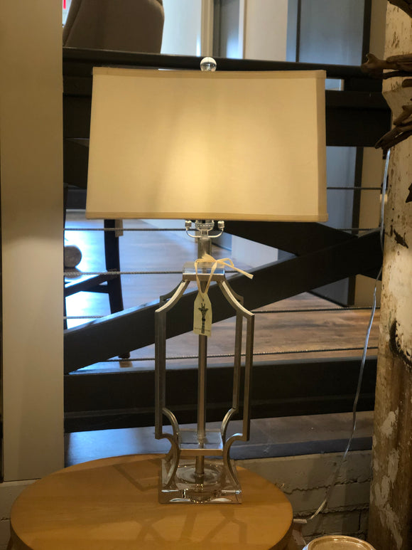 Elise Silver Metal Lamp with Lucite Base