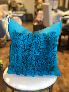Ruffled Turquoise Pillow
