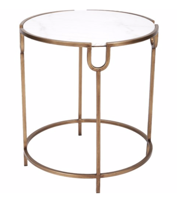 Bethany Gold Accent Table with Marble