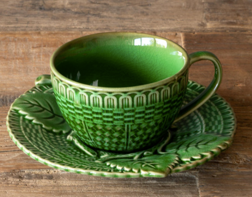 Green Glazed Teacup and Saucer