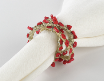 Beaded Napkin Ring Coral Set of 4