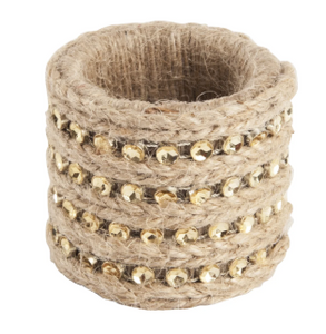 Jute with Studs Napkin Rings Set of 4
