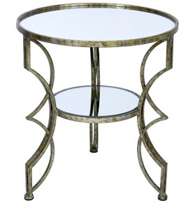 Cindi Champagne Gold Mirrored End Table