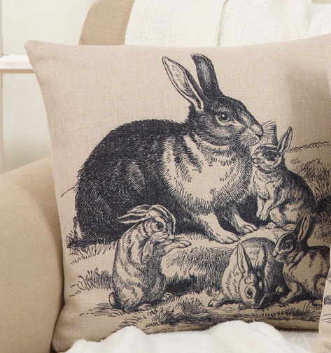 Rabbit Family Pillow Natural 18