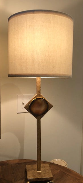 Brushed Gold and Agate Stone Lamp