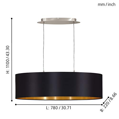 Eglo Suspension Lampe Textile Noir Or Éclairage Suspension Lampe E27 Lumière 31611