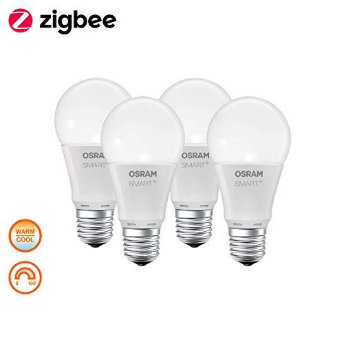 OSRAM Smart+ Lot de 4 Ampoules LED Connectées | Culot E27 | Forme Standard | Dimmable | Blanc Chaud/Froid 2700/6500K | 9W (équivalent 60W) | Zigbee