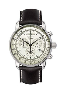 Zeppelin Mens Chronograph Swiss Quartz Movement Watch with Leather Strap 8680-3
