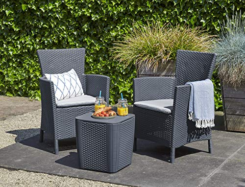 ALLIBERT Iowa Balcony Set de Balcon Graphite/Gris Froid (Polycoton Coussin)