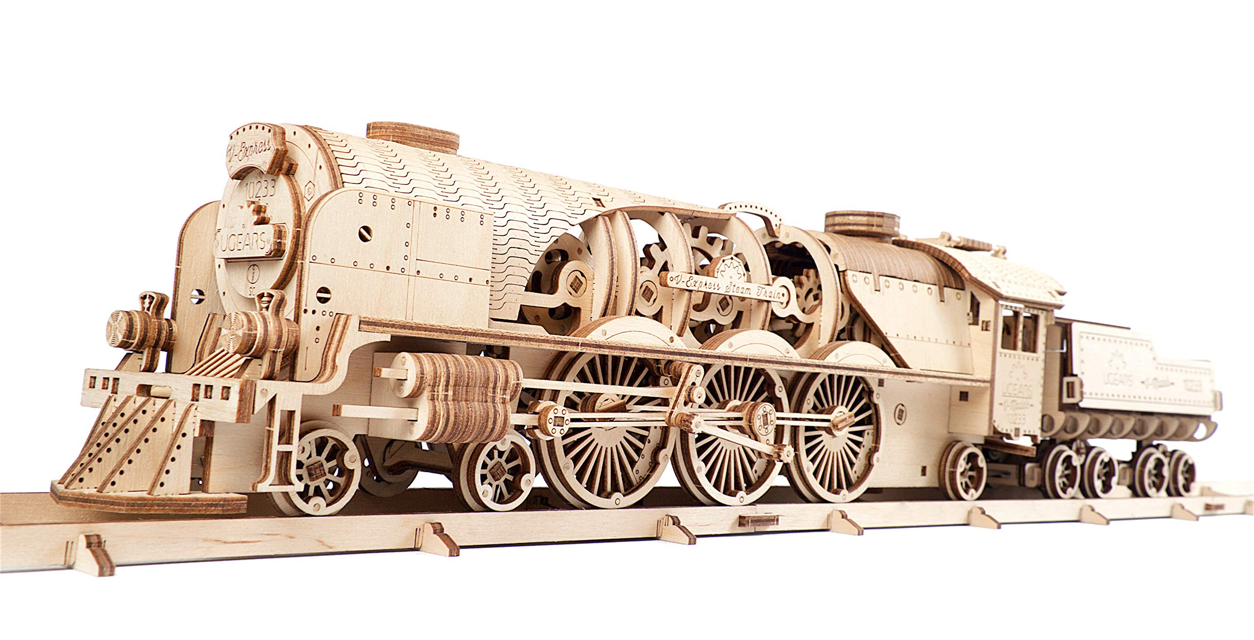 UGEARS Train en Bois Model 3D - Locomotive  Tender  Chemin de Fer - Puzzle A Encastrement Adulte  Miniature Mécanique  à Construire  Jeu Educatif E