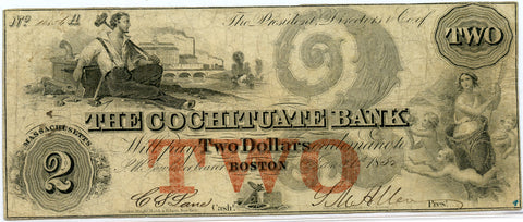 Genuine 1852 $2 The Cochituate Bank Boston, MA Obsolete Bank Note, Fine + Details!